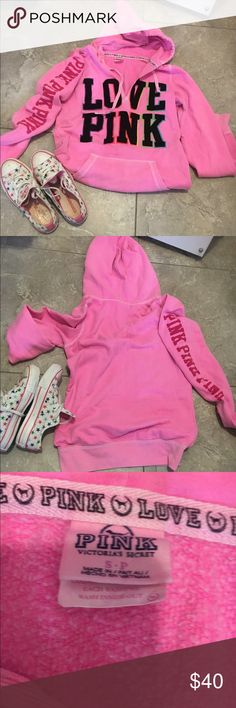Authentic Victoria Secret pink Hoodie This is a rare VS hoodie that very stylish and comfortable. lOVE PINK on from Pink on sleeve.. Size is Small.. Look closely at the love pink its multicolored outlined......FREE pINK PUP INCLUDED PINK Victoria's Secret Tops Sweatshirts & Hoodies
