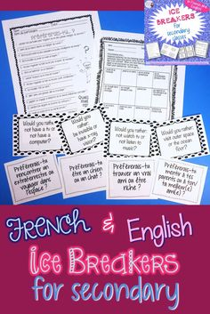 4 Ice breakers for secondary classes.  Perfect for French, foreign language, or any secondary class for a great back-to-school activity! All activities are available in French or English for the varying levels of students out there.  Activities include: Find someone who, Would you rather, I'm someone who would..., Stuck on a deserted island.  Click to see more!