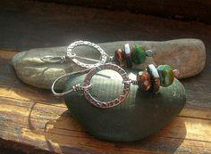 Earthy turquoise czech glass bead dangle earrings by kmaylward