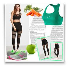 """""""Black Fishnet Insert Leggings"""" by pavicmartina ❤ liked on Polyvore featuring NIKE and Mizuno"""