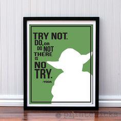 Yoda Poster Typography Print - Personalized Star Wars Series  - 8 x 10. $18.00, via Etsy.