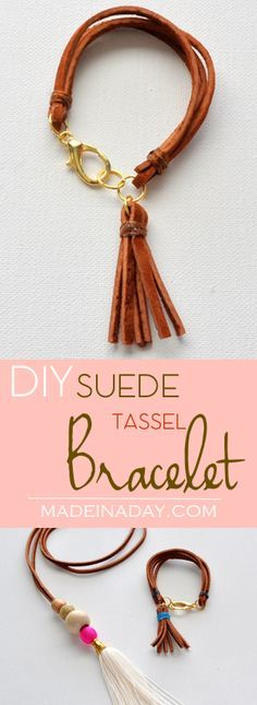 DIY Suede Tassel Bracelet, Make this super cute trendy leather tassel and layered suede bracelet. See the tutorial on madeinaday.com