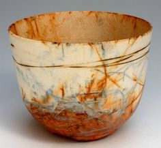 Love the color:  warm white with rust and gray blue Shamai Gibsh. This made in plaster and painted. Handmade Pottery, Hand Made, Stoneware, Earthenware, Chawan, Raku Pottery, Pottery Bowls, Pottery Art, Orange Bowl