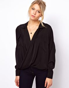 Blouse With Drop Wrap And Double Pocket