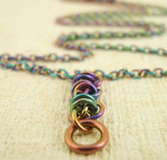 Twist on a Chain Necklace ~ Peacock Niobium by unkamengifts, $45.00