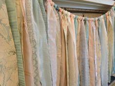 Peach & Tiffany Blue Rustic Shabby Vintage Fabric by ohMYcharley