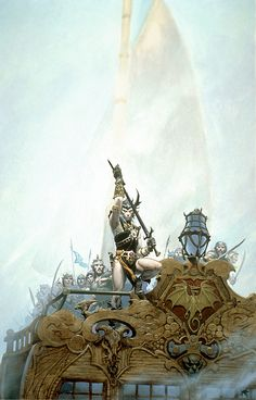 Michael Whelan has done 7 full color paintings, many black and whites illustrations, and drawings of Michael Moorcock's anti-hero Elric of Melnibone. This painting is his favorite.