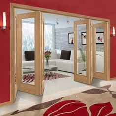 Six Folding Doors & Frame Kit - Vancouver 1 Pane Oak - Clear Glass - Prefinished Double Sliding Doors, Sliding Wardrobe Doors, Sliding Glass Door, Closet Doors, Grey Doors, Oak Doors, Panel Doors, Internal Door Frames, Internal Folding Doors