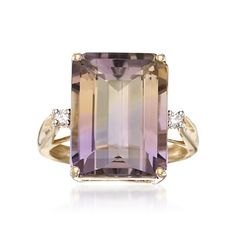 11.00 Carat Ametrine Ring With Diamond Accents in 14kt Yellow Gold | #780776 @ ross-simons.com