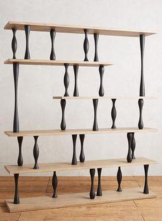 Like Brancusi - Tudor-Leg Bookcase Cabinet Furniture, Wood Furniture, Furniture Design, Bookcase Storage, Shelving, Unique Furniture, Contemporary Furniture, Wood Table Legs, Pallet Shelves
