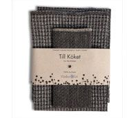 Gift set with Bubbel linen towel and dishcloth in black.
