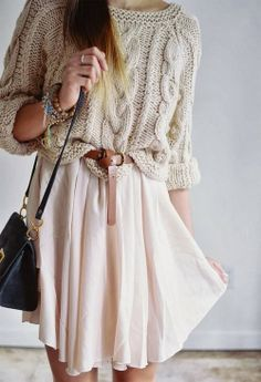 Wire Knit Sweater With Belted Skirt