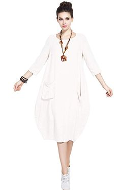 9b41574db645e Anysize Soft Linen Cotton Lantern Loose Dress Spring Summer Fall Plus Size  Clothing Y19