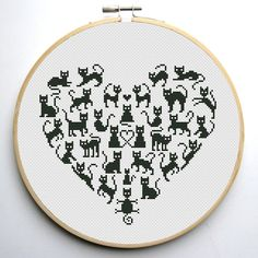 Heart and Cats 2 cross stitch pattern Instant от CrossStitchForYou