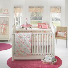 24 Beautiful Baby Nursery Room Design Ideas : White Themed Baby Girls Nursery Room Design with Round Pink Rug and Small Crib