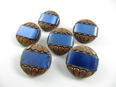 Lot of 6 Vintage 20 mm Copper & Blue Plastic Buttons by TheTreasureBoxOrna on Etsy