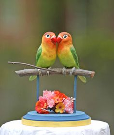 Fischer's Love Birds handmade wedding cake topper by TeaOlive - Very Cute!