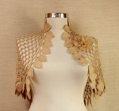 Land of Dreams / Crochet Shrug Bolero Caramel-Gold por lilithist