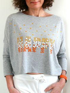 DIY Un t-shirt pour personne heureuse. (http://bmade.canalblog.com/archives/2014/05/21/29918475.html)