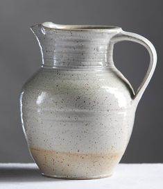 Ceramic Natural White Pitcher - Handmade Pottery Wheel Thrown 10/14