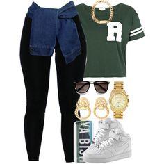 "Green ""R"" Varsity T-Shirt, Black Tights (Denim Shirt Wrapped Around), Black-Framed Sunglasses, Gold Watch/Earrings, ""Ya Bish"" Iphone Case, Nike Air Force 1$ High Tops"