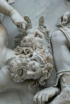 Close-up of a horned, man-eating lion on a frieze. The Pergamon Museum, Berlin. Ancient Greek Art, Ancient Aliens, Ancient Greece, Statues, Greece Mythology, Pergamon Museum, Berlin, Sculpture Art, Art History