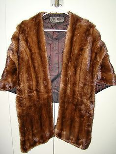 Vintage Mink Stole Capelet Shrug w Satin Shoulder Catches Luxurious Length | eBay