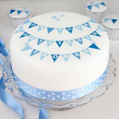 Boys Christening Bunting Cake Decorating Kit