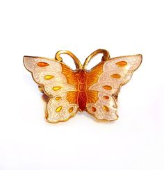 Vintage Enamel Butterfly Pin, Cloisonne Brooch