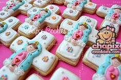First Communion favors cookies Holy Communion Cakes, First Communion Favors, First Holy Communion, Sugar Cookie Frosting, Royal Icing Cookies, Cupcake Cookies, Bautizo Cakes, Baptism Cookies, Baptism Party