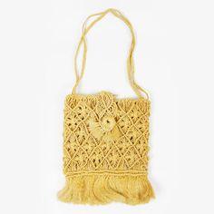 vtg 70s boho hippie MACRAME CROCHET WOVEN RAFFIA STRAW FRINGE shoulder bag purse $22.00