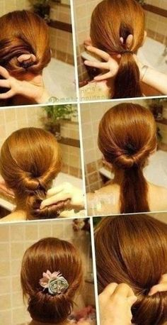 Hairstyle Easy To Do Mid Long Hair ~ Photo Simple Hair Style - Simple Haircut Fashion and Popular Bows: Easy […] Wedding Bun Hairstyles, Evening Hairstyles, Fast Hairstyles, Crown Hairstyles, Braids For Kids, Braids For Long Hair, Medium Long Hair, Medium Hair Styles, Long Hair Styles Waves