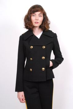 Smythe Pea Coat- Black Essential Wardrobe Pieces, Yellow Fabric, Tailored Jacket, Pea Coat, Black Pants, Double Breasted, Menswear, How To Wear, Jackets