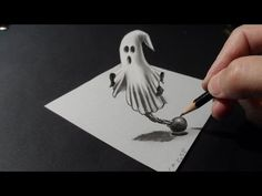 Drawing a 3D Ghost, Trick Art - http://www.7tv.net/drawing-a-3d-ghost-trick-art/