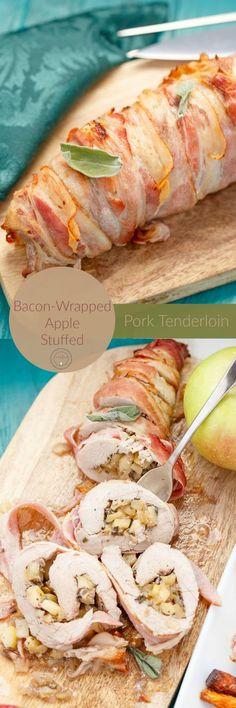 Bacon-Wrapped Apple Stuffed Pork Tenderloin | http://thecookiewriter.com | @thecookiewriter | #pork #bacon (ad) | A hearty and delicious gluten-free meal that is perfect for the holidays (and uses Ontario apples!)