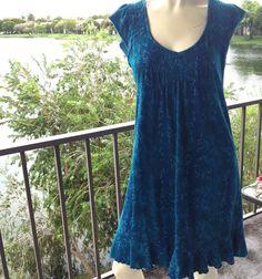 Dress, by DKNY Jeans, Medium, Boho Turquoise Reptile Print, Stretch, Sleeve EUC #DKNY #EmpireWaist #Casual