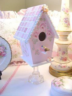 Shabby Pink Mosaic Birdhouse by sweetnshabbyroses, via Flickr