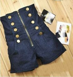 Cheap jeans unbranded, Buy Quality jeans for big women directly from China jean jackets for kids Suppliers: 2015 New Hot Pants Women's High Waist Jeans Short Zipper double-breasted shorts female jea Dark Denim, Black Denim Shorts, Jean Shorts, Blue Denim, Style Marin, My Style, Style Anglais, High Wasted Shorts, Sailor Shorts