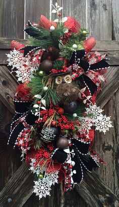 Christmas Owl Wreath Christmas Wreath Holiday by BaBamWreaths
