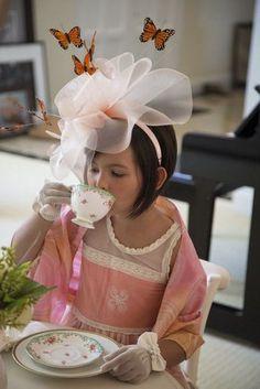 Little girl from a Colorful Tea Party via Kara's Party Ideas Tea Party Attire, Tea Party Theme, Tea Party Hats, Tea Party Birthday, Elmo Party, Elmo Birthday, Mickey Party, Dinosaur Party, Dinosaur Birthday