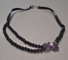 Amethyst Necklace, Amethyst Gemstone, Beaded Necklace, Necklaces, Bracelets, Black Glass, Glass Beads, Handmade Jewelry, Jewels