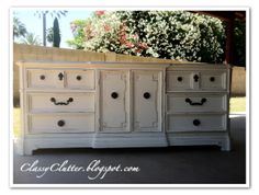 Oriental Silk Dresser Makeover - Oriental silk is the perfect creamy white for any furniture makeover! | www.classyclutter.net