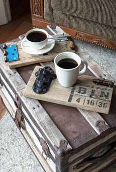 Reclaimed wood old gate coasters, for a bigger coffee adventure. Coffee coasters are generally small. Maybe it's time to start a BIG coaster revolution!