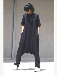 Maxi black jumpsuit maxi jumpsuit harem jumpsuit handmade
