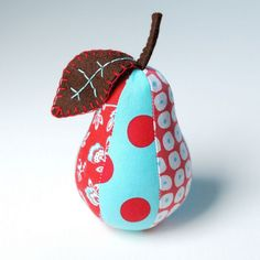 Red and Aqua Pear Pincushion by Retro_Mama, via Flickr