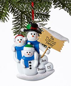 Another great find on #zulily! Snowman Three-Person Family Personalized Ornament #zulilyfinds