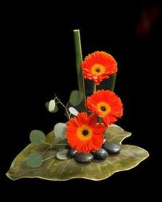 Ikebana - orange gerbera daisy stylized floral arrangement