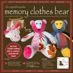 I actually have a pattern for a bear like this! Never thought of making it out of their old clothes! So excited. :) ~Kyleigh