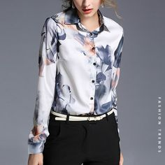 Cheap blouse size, Buy Quality blouse satin directly from China blouse xxxl Suppliers: Hot Sale 2016 New Arrival Autumn Fashion Europe Long Sleeve Color Blouse Female Elegant Slim Printed All-match Blouse 706F 30