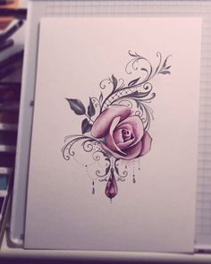 Tattoo Rose Thigh Tatoo Ideas For 2019 Up Tattoos, Thigh Tattoos, Wrist Tattoos, Shoulder Tattoos, Body Art Tattoos, Small Tattoos, Tattoos With Roses, Rose Tattoo On Thigh, Tatoo Rose